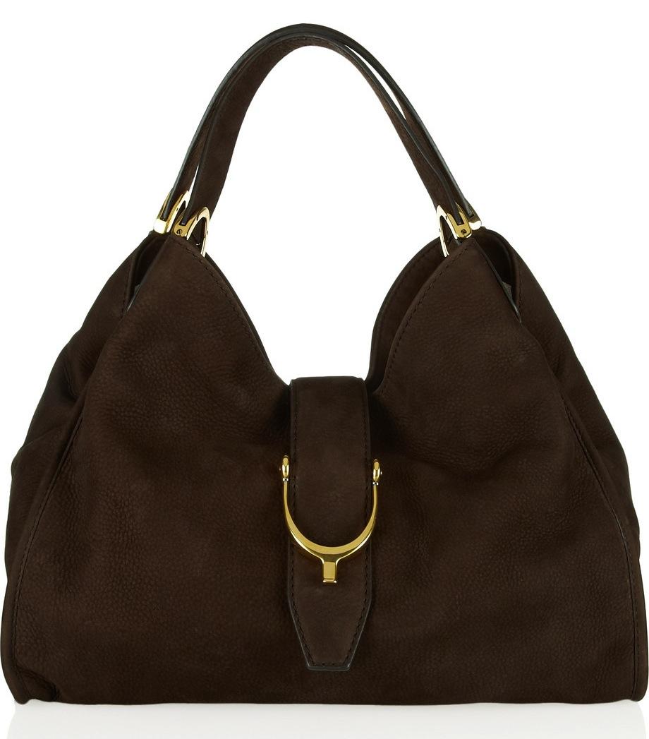 Gucci Soft Stirrup Nubuck Suede Shoulder Bag 59