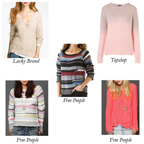 Lucky Brand, Free People, Topshop Wool, Chunky Sweaters