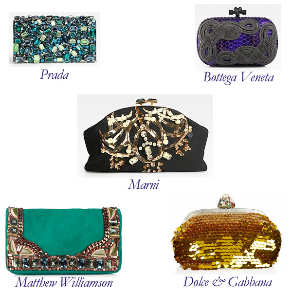 Prada, Marni, Matthew Williamson, Dolce & Gabbana, Bottega Veneta Clutches