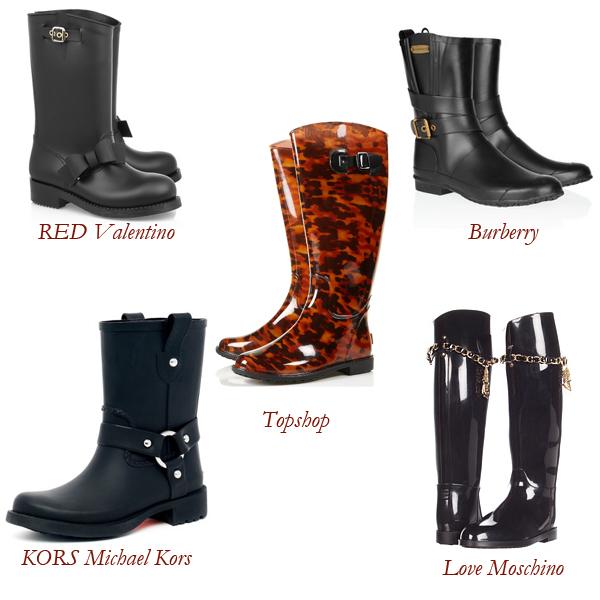 RED Valentino, Burberry, Topshop, KORS Michael Kors, Love Moschino Rain Boots
