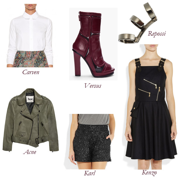 Carven Shirt, Acne Jacket, Karl Shorts, Versus Boots, Kenzo Dress, Repossi Ear Cuff