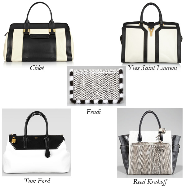 Chloé, Fendi, YSL, Reed Krakoff, Tom Ford, Black and White Bags