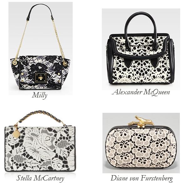 Milly, Stella McCartney, Diane von Furstenberg, Alexander McQueen Lace Bags