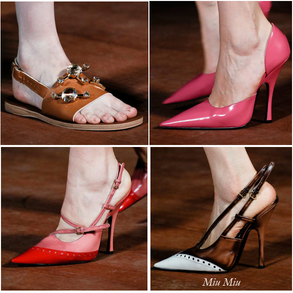 Muccia Prada shows shoes from her looks at the Miu Miu Spring/Summer 2013 Fashion Show