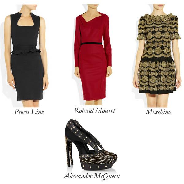 Preen Line, Roland Mouret, Moschino Dresses, Alexander McQueen Shoe