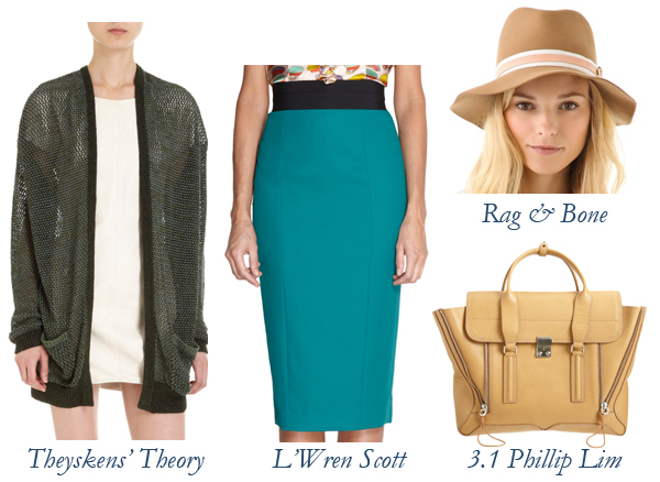 Theyskens' Theory Cardigan, L'Wren Scott Skirt, Rag & Bone Hat, 3.1 Phillip Lim Bag
