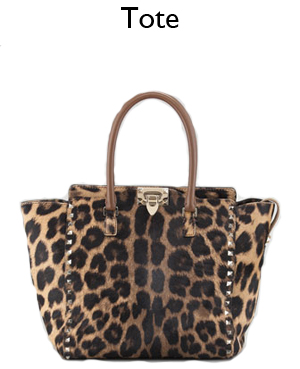 Valentino Leopard Rockstud Tote