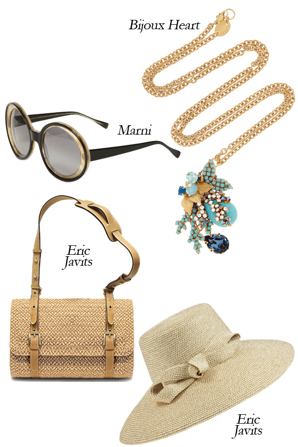 Bijoux Heart Swarovski Crystal Necklace, Eric Javits Shoulder Bag and Hat, Marni Sunglasses