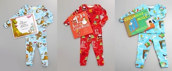 Knight and the Dragon Pajama and Book Set, Boy 12 Days of Christmas Pajama and Book Set, Goodnight Moon Pajama and Book Set