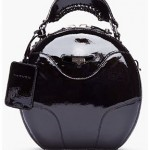 Carven Black Patent-Leather Round Bag