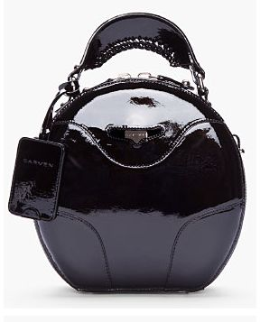 Carven Black Patent-Leather Round Bag
