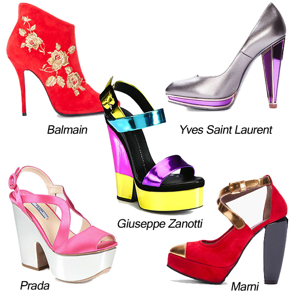 Marni, Yves Saint Laurent, Balmain, Giuseppe Zanotti, Prada Metallic Shoes