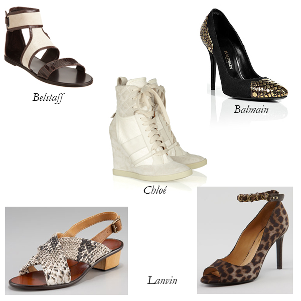 Belstaff, Lanvin, Chloé, Balmain, Canvas and Exotic Skin Shoes