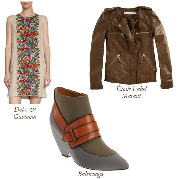 Balenciaga Thick Strap Shoe Bootie, Dolce & Gabbana Button Back Floral Dress, Etoile Isabel Marant Kady Jacket