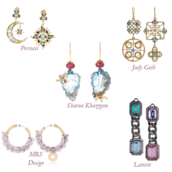 Percossi, Judy Geib, MRS Design, Sharon Khazzam, and Lanvin Earrings