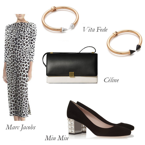 Marc Jacobs Dress, Céline Clutch, Vita Fede Bracelets, Miu Miu Pumps