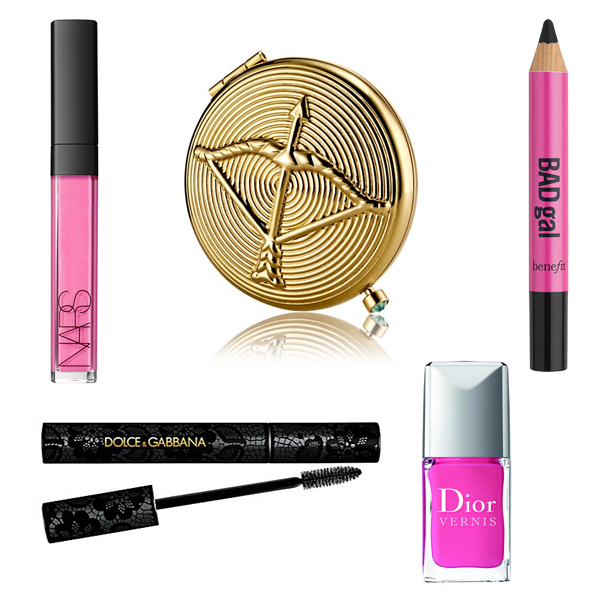 Nars Lip Gloss, Estee Lauder Compact, Bad Gal Pencil, Dolce and Gabbana Mascar, Dior Nail Polish