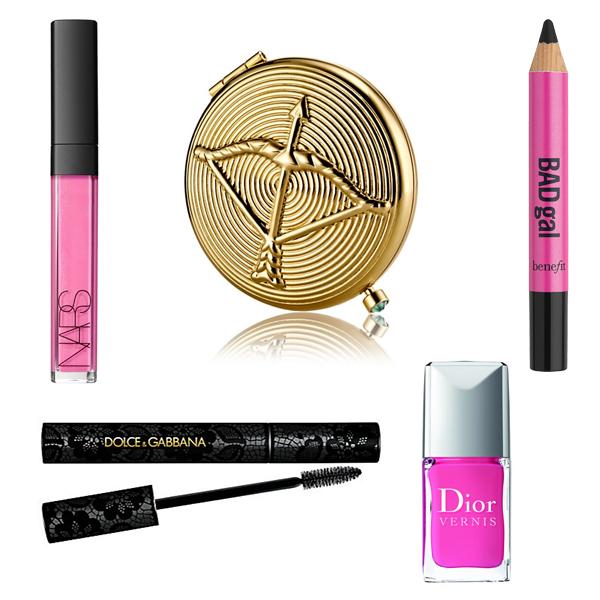 Nars Lip Gloss, Estee Lauder Compact, Bad Gal Pencil, Dolce and Gabbana Mascar, Dior Nail Polish