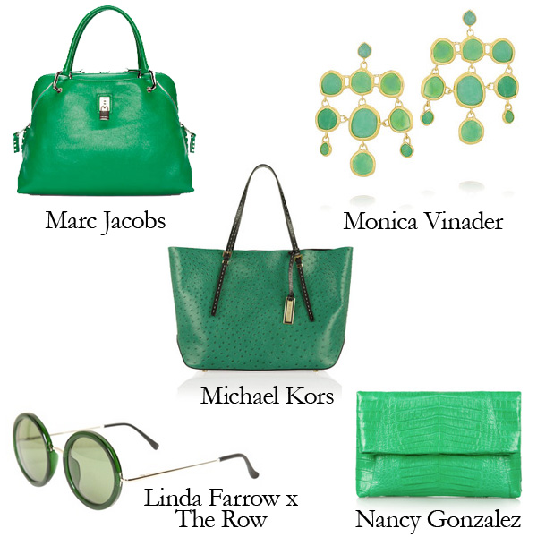 Marc Jacobs Bag, Michael Kors Bag, Nancy Gonzalez Clutch, Linda Farrow x The Row Sunglasses, Monica Vinader Earrings