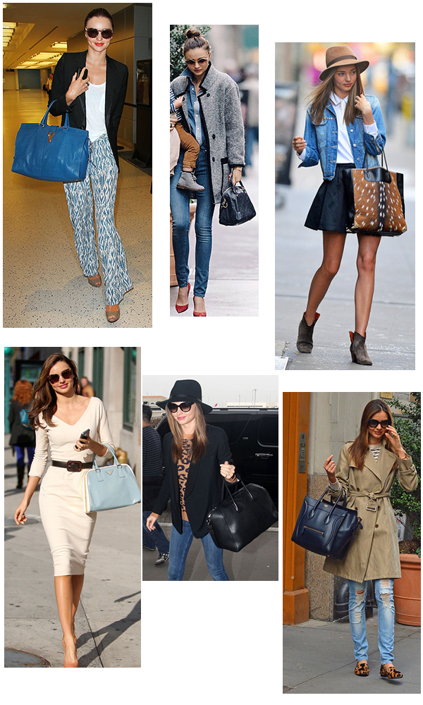 Miranda Kerr carries Yves Saint Laurent, Louis Vuitton, Alexander Wang, Prada, Céline, Givenchy Bags