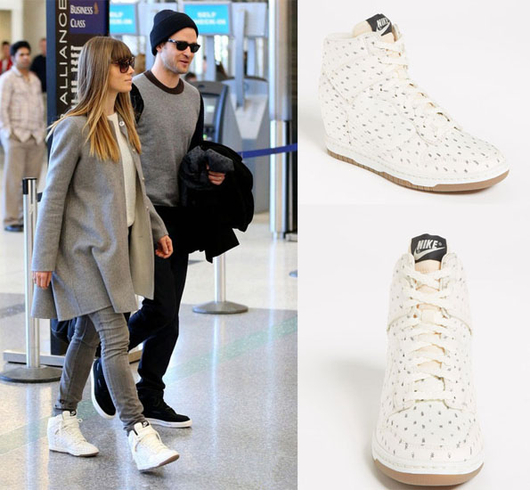 "0ea4be80aa9f ... JessicaBielNikewedges Jessica Biel rocked the Dunk Sky Hi"" wedge  sneakers by Nike recently . ..."