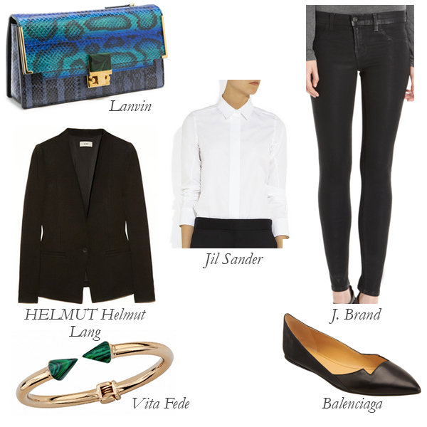 Lanvin Snakeskin Clutch, HELMUT Helmut Lang Blazer, Vita Fede Malachite Bracelet, Balenciaga Flats, Jil Sander Shirt, J Brand Jeans