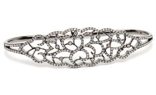 Gaydamak Black Gold and Diamond Hand Bracelet