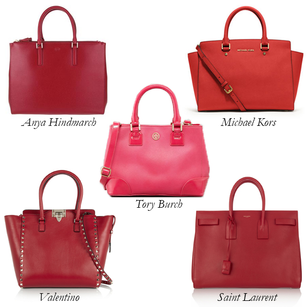 Anya Hindmarch, Valentino, Saint Laurent, Tory Burch, Michael Kors Red Bag