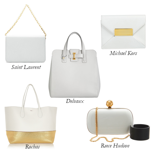 Saint Laurent, Michael Kors, Delvaux, Rochas, Reece Hudson White and Gold Bags