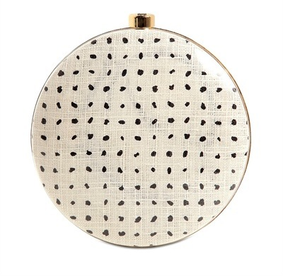 Stella McCartney Plexiglass Printed-Canvas Round Clutch