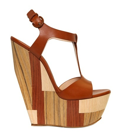 Casadei Wood & Leather T-Bar Wedges