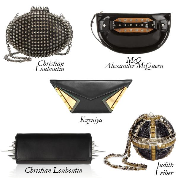 Kzeniya Leather, McQ Alexander McQueen PVC, Christian Louboutin, Judith Leiber Punk Clutches