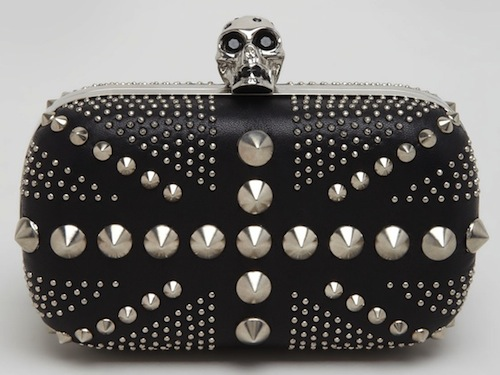 Alexander McQueen Studded Britannia Classic Skull Clutch