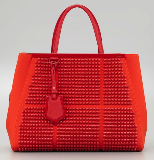 Fendi 2Jours Studded Neoprene Tote Bag