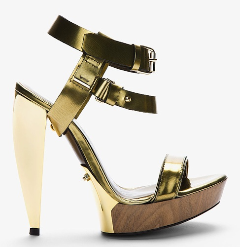 Lanvin Gold Sculpted-Heel Sandal