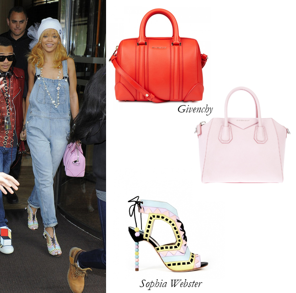 Rihanna, Givenchy Lucrezia, Antigona Totes, and Sophia Webster sandals