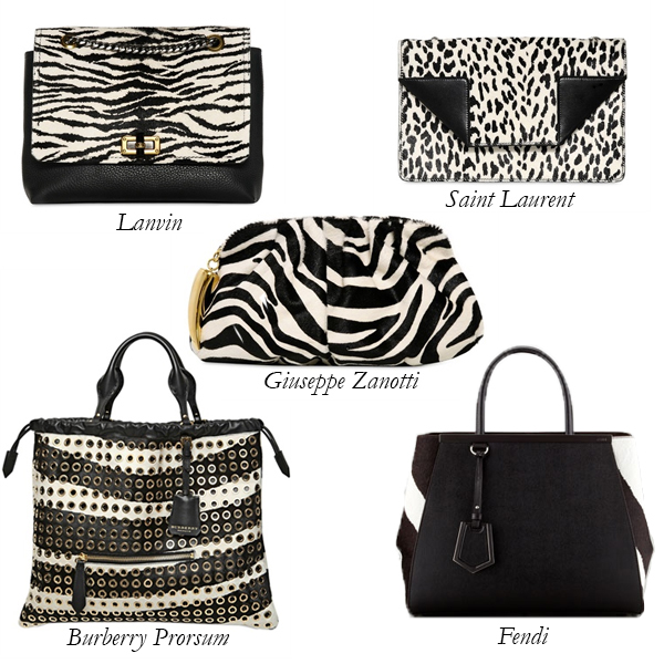Lanvin, Burberry Prorsum, Fendi, Saint Laurent, Giuseppe Zanotti Black and White Animal Print Bags