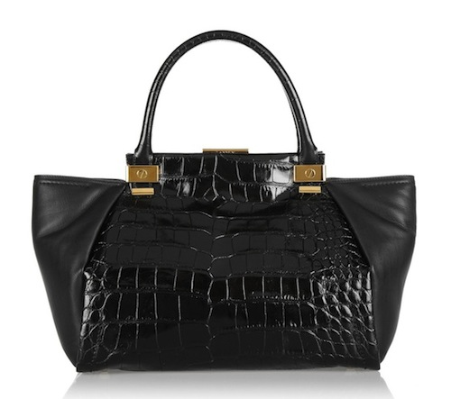 Lanvin Trilogy Croc-Effect Leather Shopper