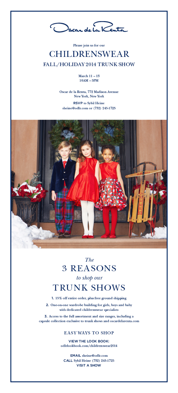 Oscar de la Renta Childrenswear Trunk Show