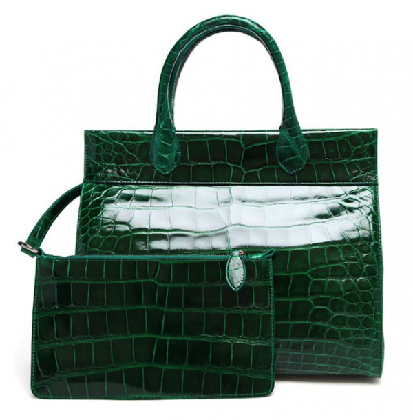 Azzedine Alaïa Patent Crocodile Structured Tote Bag