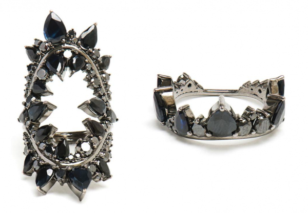 Fernando Jorge 18K Oxidized Gold & Black Diamond Rings