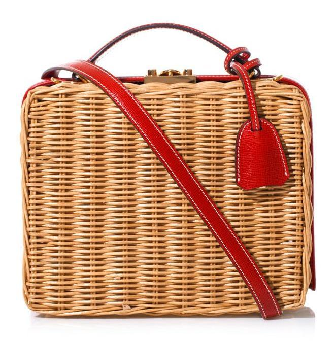 Mark Cross Grace Wicker and Leather Box Bag: Red Delicious