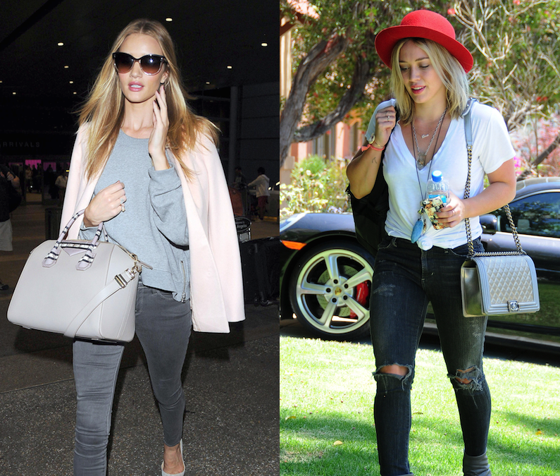 Battle of the Bags: Rosie Huntington-Whiteley with Givenchy vs. Hilary Duff with Chanel