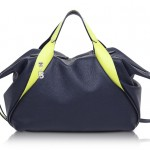 Francesco Biasia Sorbonne Dark Blue and Neon Yellow Leather Satchel