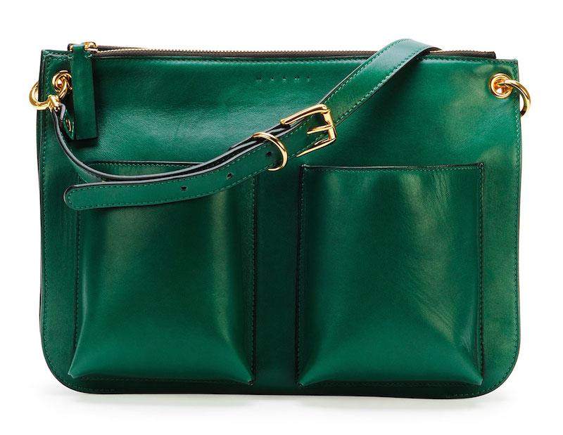Marni Bandoleer Soft Leather Shoulder Bag: Think Green