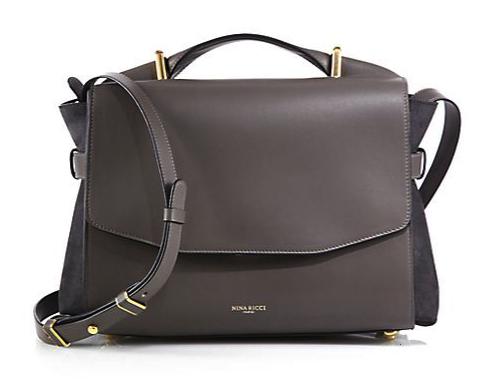 Nina Ricci Lutece Leather & Suede Messenger Bag