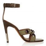 Givenchy Agata Sandals in Army-Green Canvas & Leather with Crystals: Game of Stones