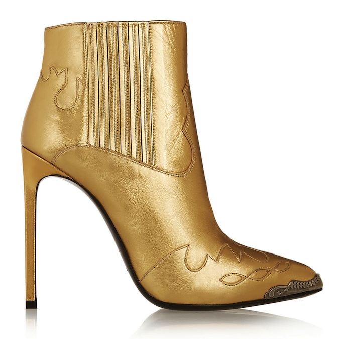 Saint Laurent Paris Metallic Leather Ankle Boots