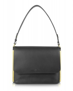 Jean Paul Gaultier Black Leather Shoulder Bag with Metal Detail
