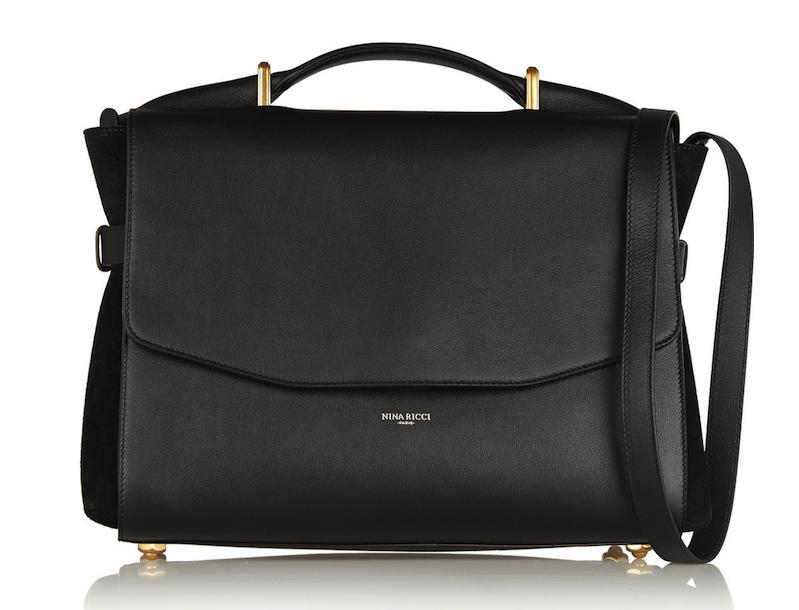Nina Ricci Lutece Medium Leather and Suede Shoulder Bag